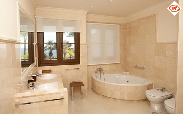 Crema Marfil marble bathrooms