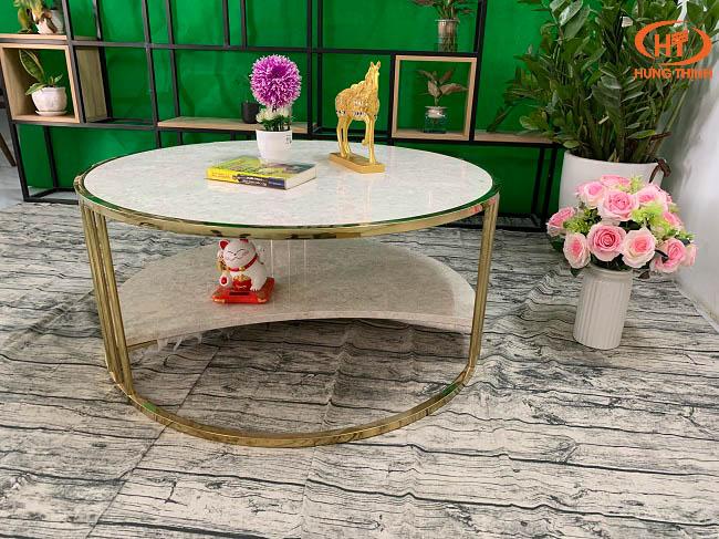 Bộ bàn trà 2 tầng khuyết đá Oman 2.0 ĐK 962 10