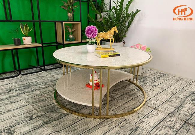 Bộ bàn trà 2 tầng khuyết đá Oman 2.0 ĐK 962 12