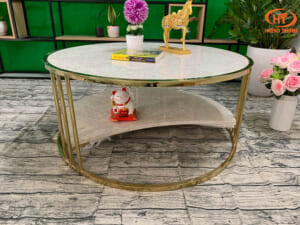 Bộ bàn trà 2 tầng khuyết đá Oman 2.0 ĐK 962 6