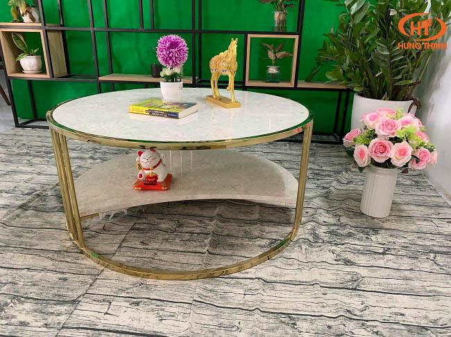 Bộ bàn trà 2 tầng khuyết đá Oman 2.0 ĐK 962 9