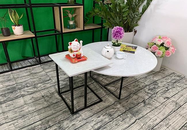 Bộ bàn trà tròn vuông Đá hoa tuyết ĐK 800 400x400 11