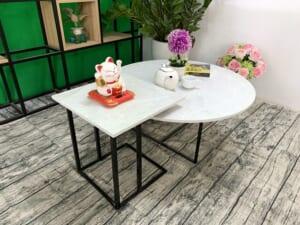 Bộ bàn trà tròn vuông Đá hoa tuyết ĐK 800 400x400 13