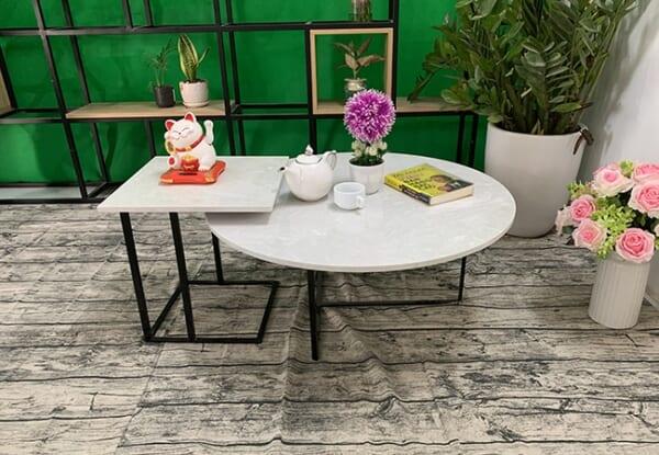 Bộ bàn trà tròn vuông Đá hoa tuyết ĐK 800 400x400 2