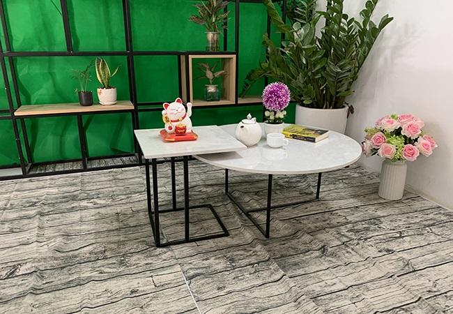 Bộ bàn trà tròn vuông Đá hoa tuyết ĐK 800 400x400 3