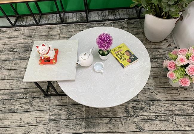 Bộ bàn trà tròn vuông Đá hoa tuyết ĐK 800 400x400 4