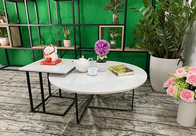Bộ bàn trà tròn vuông Đá hoa tuyết ĐK 800 400x400 6