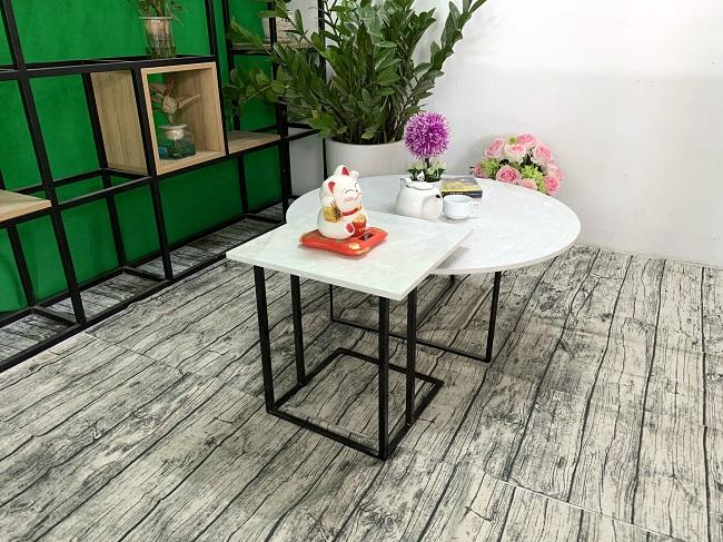 Bộ bàn trà tròn vuông Đá hoa tuyết ĐK 800 400x400 9