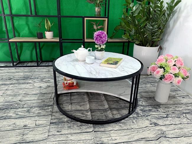 Bộ mặt bàn 2 tầng khuyết đá trắng Hy Lạp ĐK 800 5