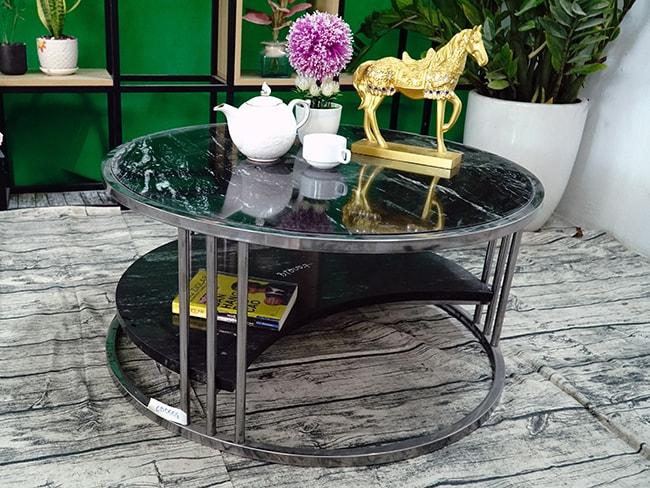 Bộ mặt bàn trà 2 tầng khuyết Đá Black Forest ĐK 762 10 1
