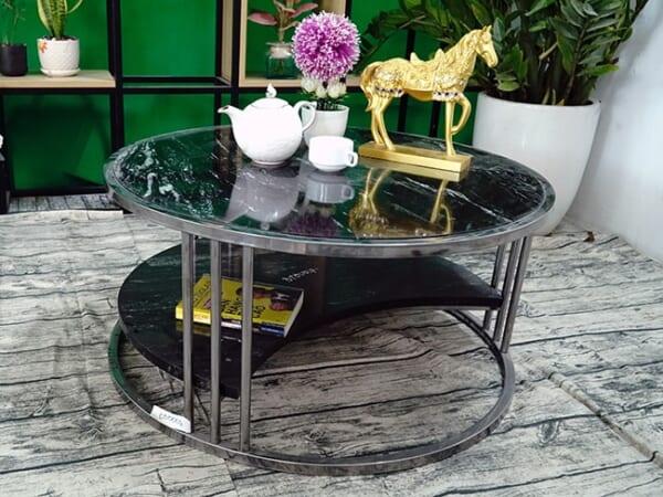 Bộ mặt bàn trà 2 tầng khuyết Đá Black Forest ĐK 762 10