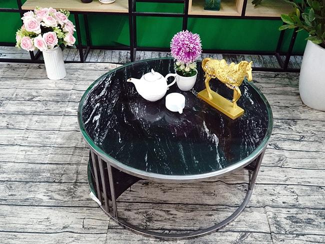 Bộ mặt bàn trà 2 tầng khuyết Đá Black Forest ĐK 762 11