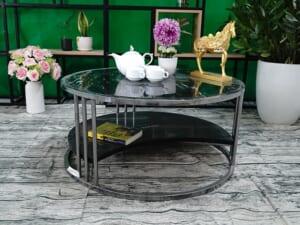 Bộ mặt bàn trà 2 tầng khuyết Đá Black Forest ĐK 762 2