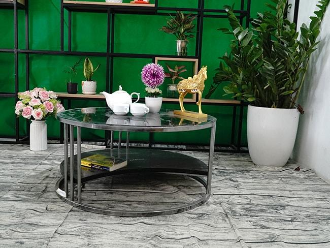 Bộ mặt bàn trà 2 tầng khuyết Đá Black Forest ĐK 762 3 1