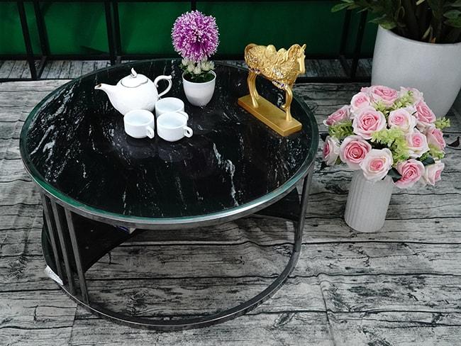 Bộ mặt bàn trà 2 tầng khuyết Đá Black Forest ĐK 762 4