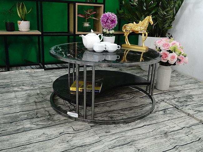 Bộ mặt bàn trà 2 tầng khuyết Đá Black Forest ĐK 762 5