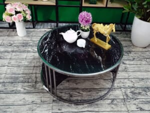 Bộ mặt bàn trà 2 tầng khuyết Đá Black Forest ĐK 762 8