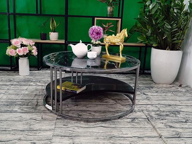 Bộ mặt bàn trà 2 tầng khuyết Đá Black Forest ĐK 762 9
