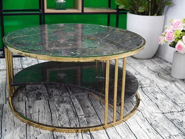 Bộ mặt bàn trà 2 tầng khuyết Đá Bronzite ĐK 762 1
