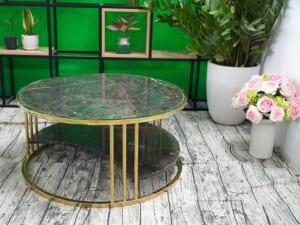 Bộ mặt bàn trà 2 tầng khuyết Đá Bronzite ĐK 762 4