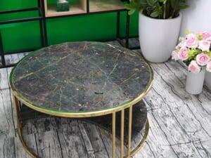 Bộ mặt bàn trà 2 tầng khuyết Đá Bronzite ĐK 762 6