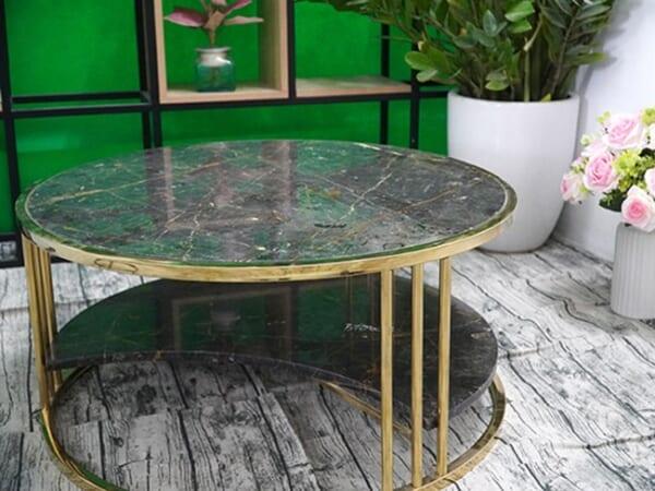 Bộ mặt bàn trà 2 tầng khuyết Đá Bronzite ĐK 762 7