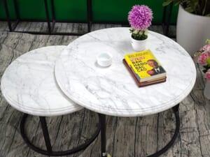 Bộ mặt bàn trà chị em đá trắng Ý ĐK 526 426 2 min
