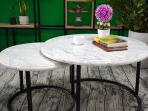 Bộ mặt bàn trà chị em đá trắng Ý ĐK 526 426 3 min