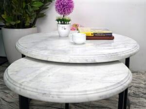 Bộ mặt bàn trà chị em đá trắng Ý ĐK 526 426 7 min