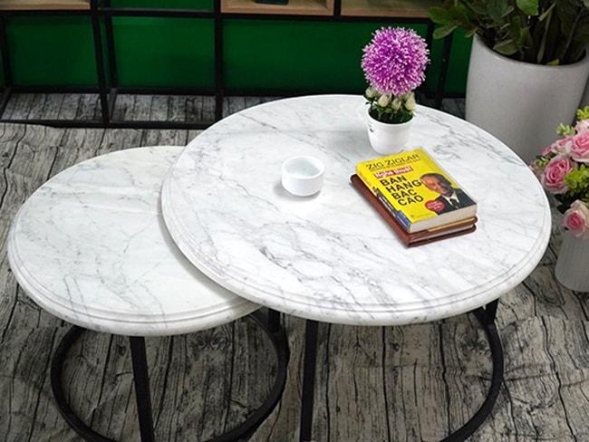 Bộ mặt bàn trà chị em đá trắng Ý ĐK 526 426 8 min