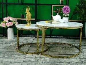 Bộ mặt bàn trà mẹ bồng con Đá trắng Hy Lạp ĐK 700 500 1
