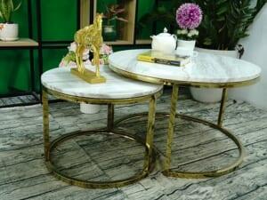 Bộ mặt bàn trà mẹ bồng con Đá trắng Hy Lạp ĐK 700 500 13