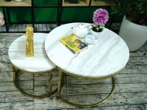 Bộ mặt bàn trà mẹ bồng con Đá trắng Hy Lạp ĐK 700 500 7