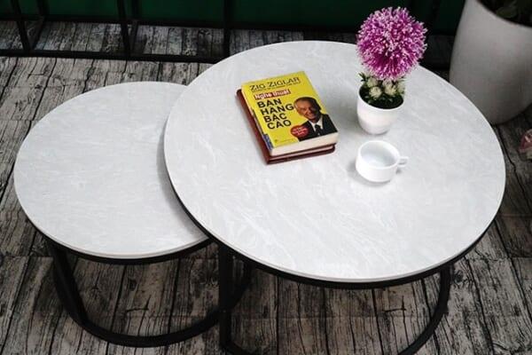 Bộ mặt bàn trà mẹ con Đá hoa tuyết ĐK 700 500 2