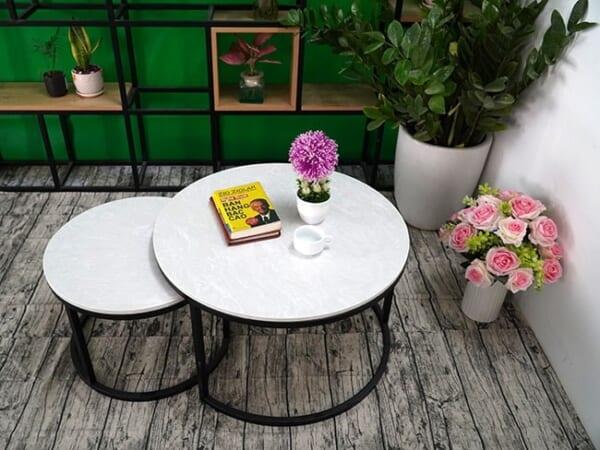 Bộ mặt bàn trà mẹ con Đá hoa tuyết ĐK 700 500 5