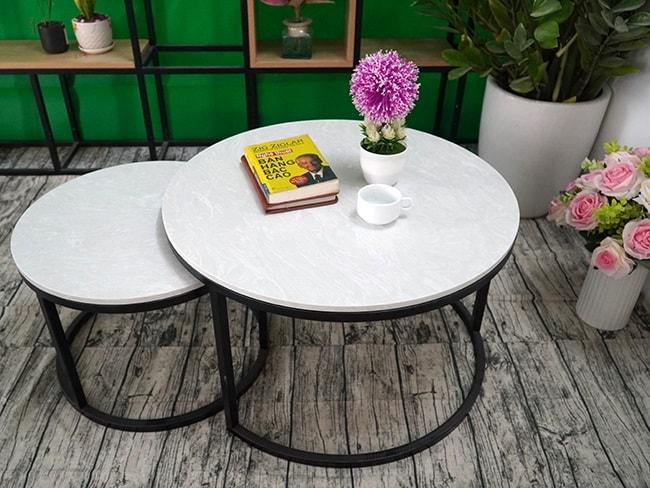 Bộ mặt bàn trà mẹ con Đá hoa tuyết ĐK 700 500 6