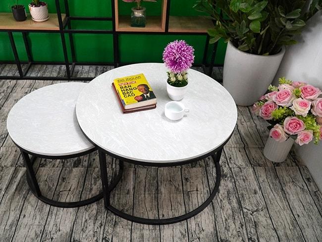 Bộ mặt bàn trà mẹ con Đá hoa tuyết ĐK 700 500 8