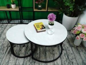 Bộ mặt bàn trà mẹ con Đá hoa tuyết ĐK 700 500 9