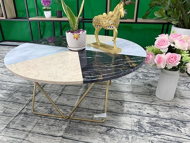 Mặt bàn hoa văn ĐK800 chân vàng 3
