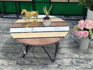 Mặt bàn hoa văn ĐK800A chân vàng 3