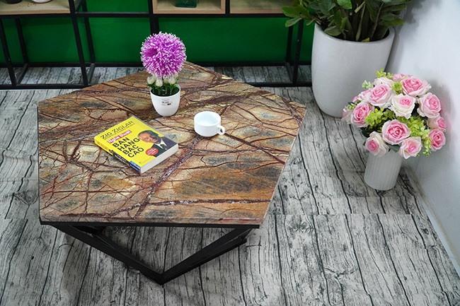 Mặt bàn ngũ giác cân Đá Forest Marble ĐK 800 3