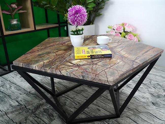 Mặt bàn ngũ giác cân Đá Forest Marble ĐK 800 5