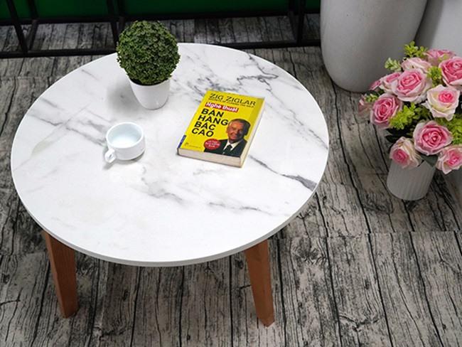 Mặt bàn trà Đá NT trắng vân dây ĐK 750 4