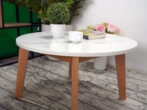 Mặt bàn trà Đá NT trắng vân dây ĐK 750 5