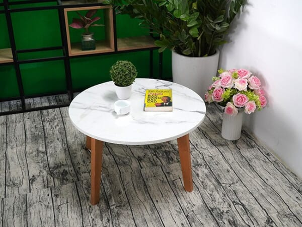 Mặt bàn trà Đá NT trắng vân dây ĐK 750 7