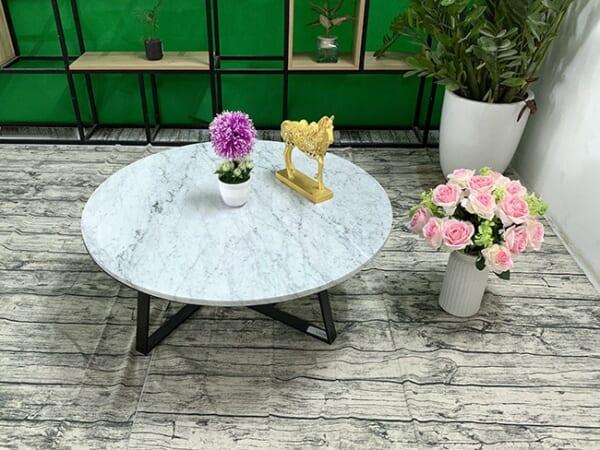 Mặt bàn trà Đá trắng Ý ĐK 760 1 1