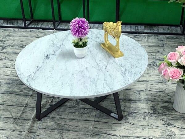 Mặt bàn trà Đá trắng Ý ĐK 760 8