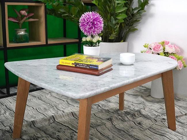 Mặt bàn trà chữ nhật 2 đầu không bằng nhau Đá trắng Ý 650500 2