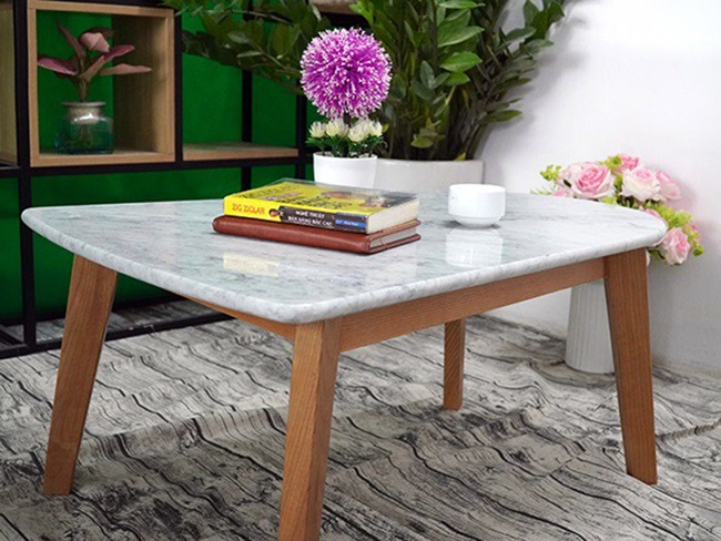 Mặt bàn trà chữ nhật 2 đầu không bằng nhau Đá trắng Ý 650500 3
