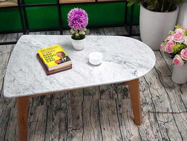 Mặt bàn trà chữ nhật 2 đầu không bằng nhau Đá trắng Ý 650500 5